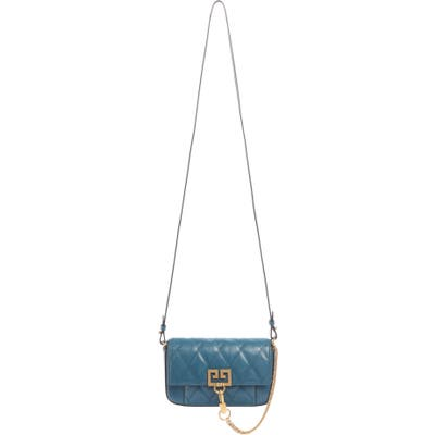 Givenchy Mini Pocket Quilted Convertible Leather Bag - Blue
