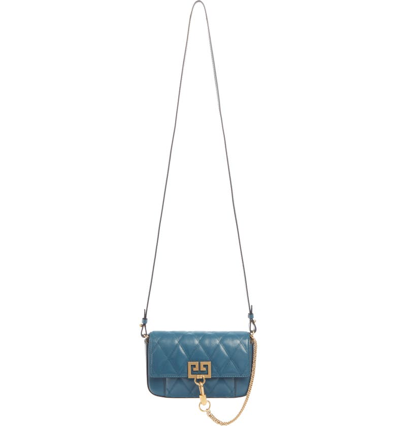 GIVENCHY Mini Pocket Quilted Convertible Leather Bag, Main, color, OIL BLUE