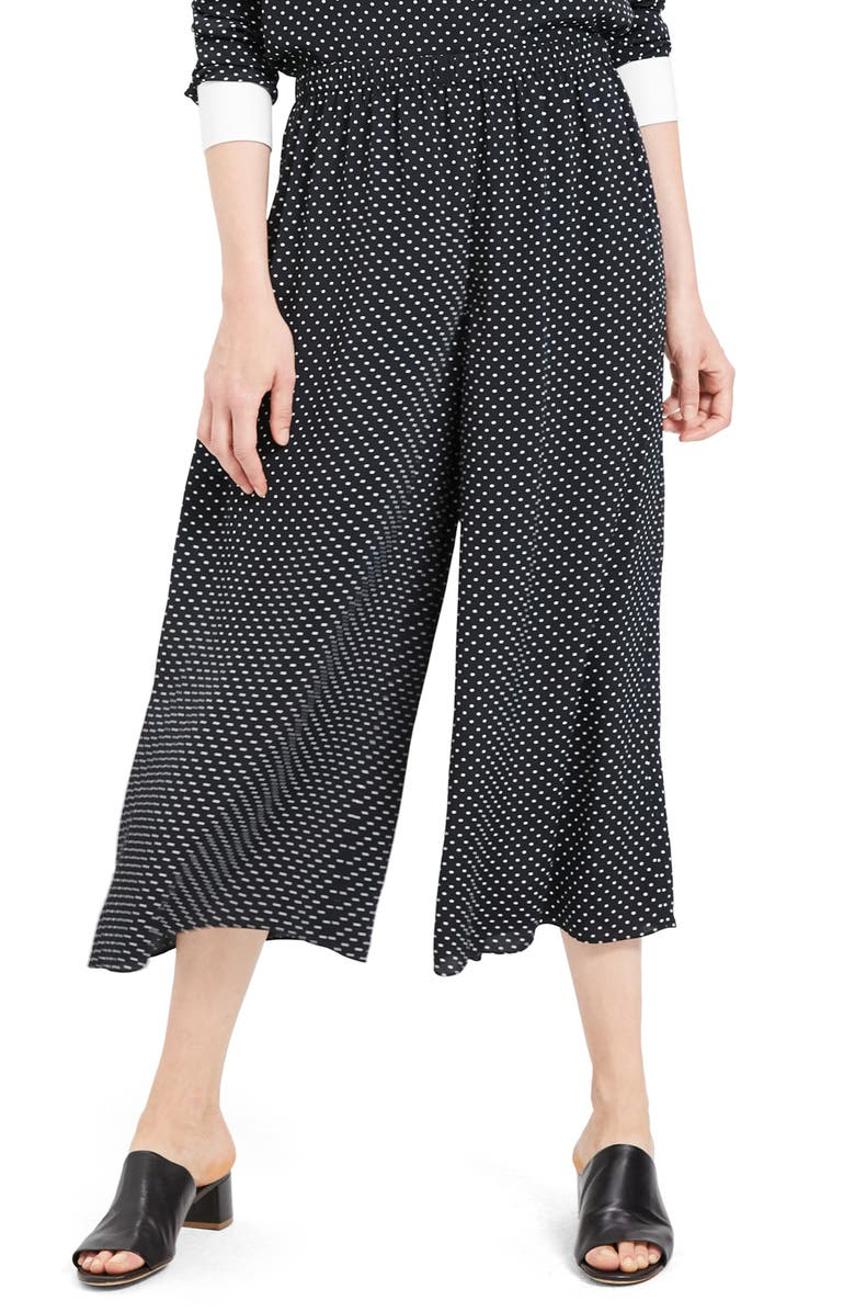 THEORY Fluid Polka Dot Culottes, Main, color, BLACK MULTI