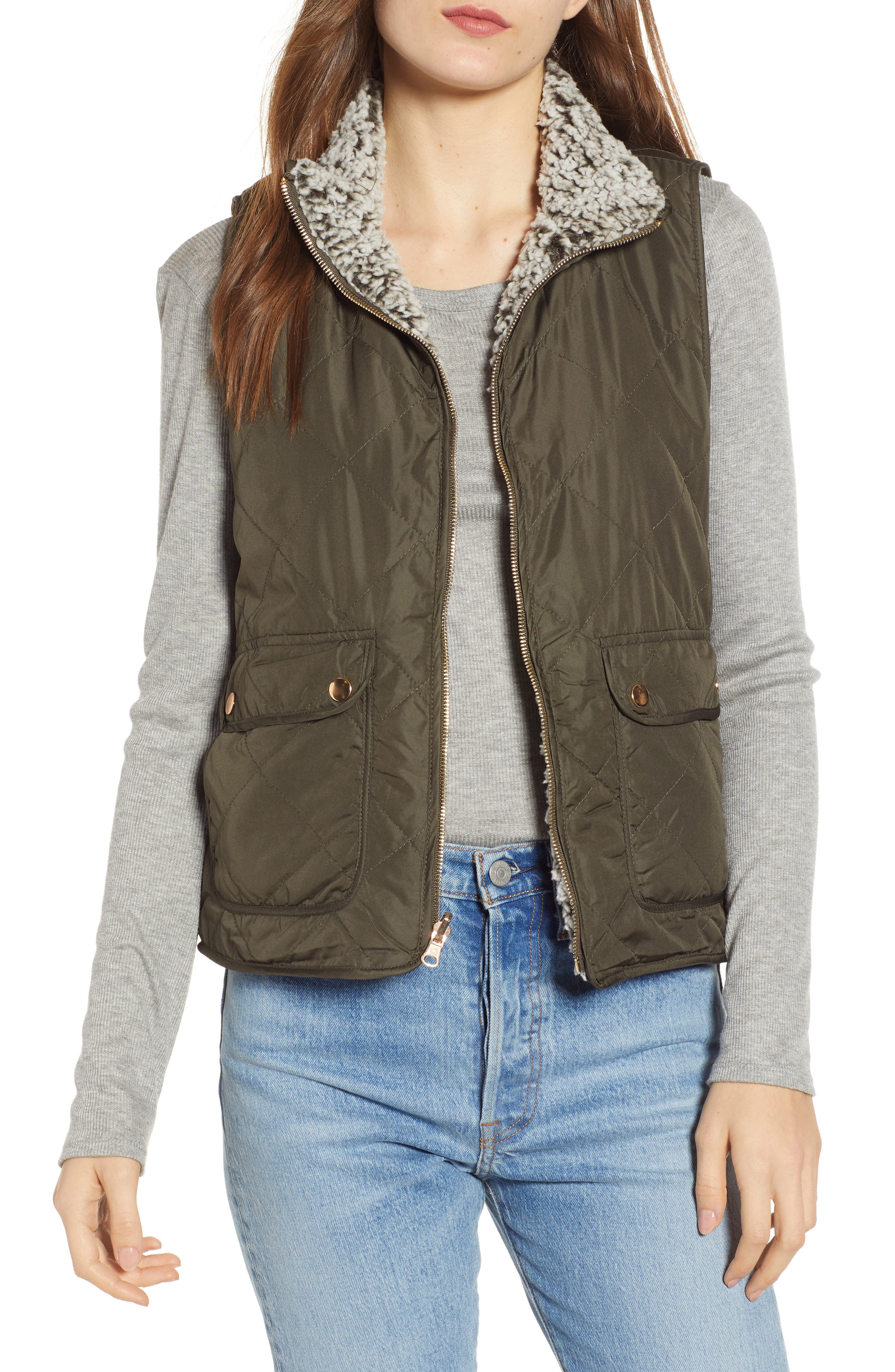 Thread & Supply Reversible Fleece Lined Quilted Vest, Green