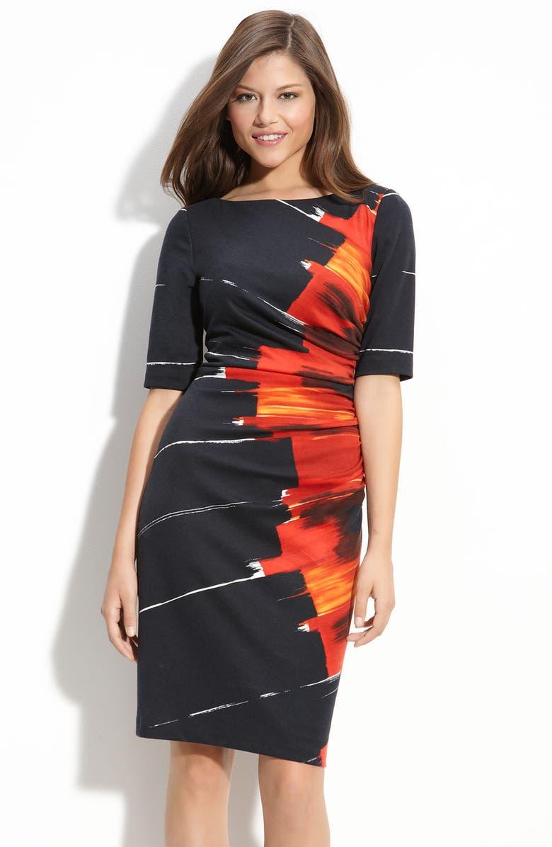 MAGGY LONDON Starburst Print Ponte Knit Sheath Dress, Main, color, 001