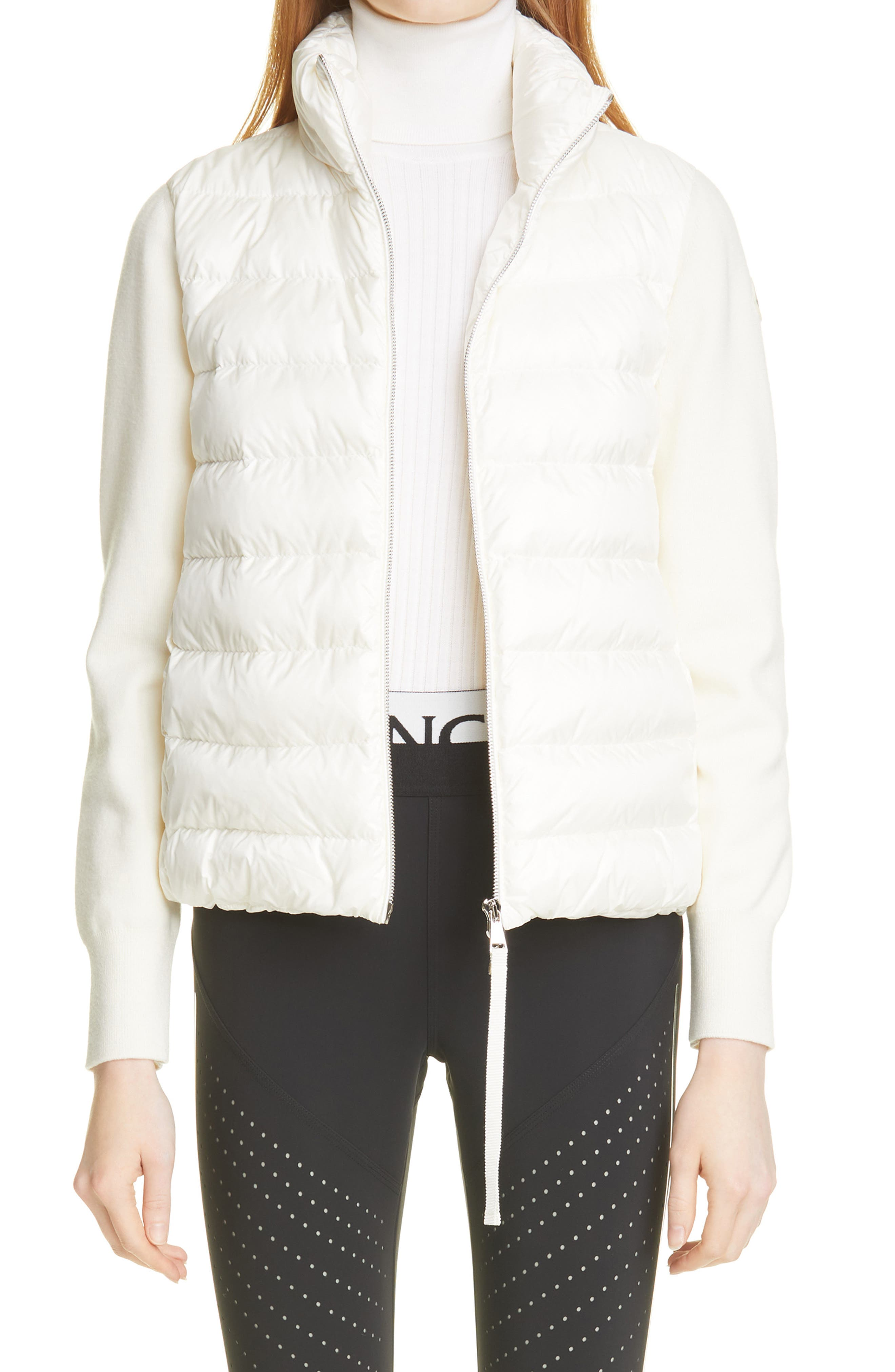 Women's Moncler Quilted 750 Fill Power Down & Wool Short Cardigan