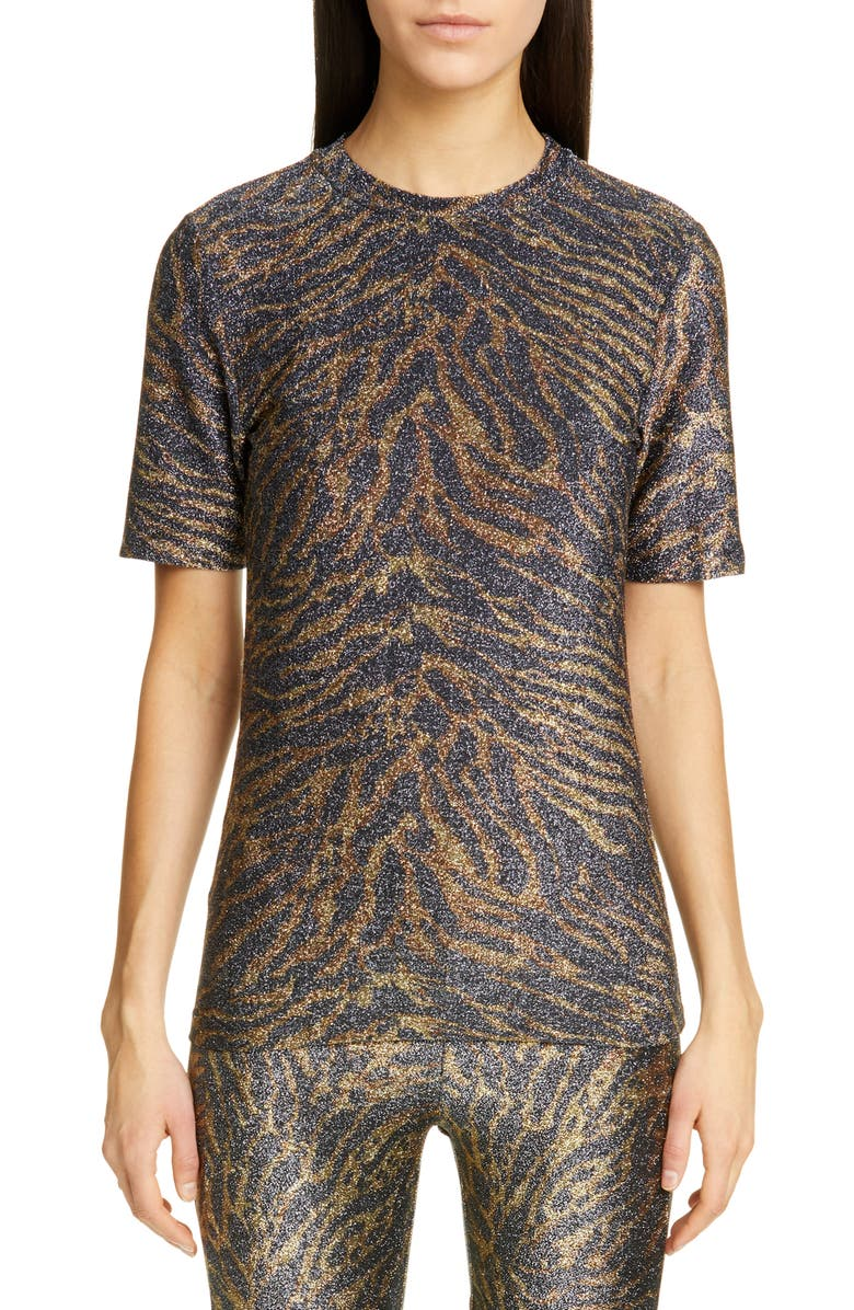 GANNI Tiger Print Metallic Jersey Tee, Main, color, TIGER