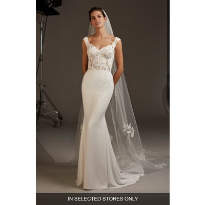 Pronovias Atlas Lace & Crepe Mermaid Wedding Dress, Size IN STORE ONLY - Ivory