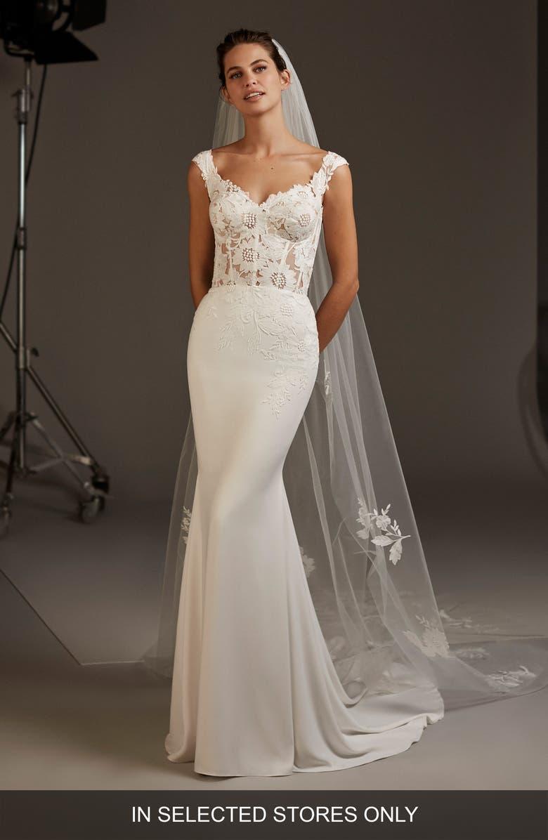 Pronovias Atlas Lace Crepe Mermaid Wedding Dress Nordstrom
