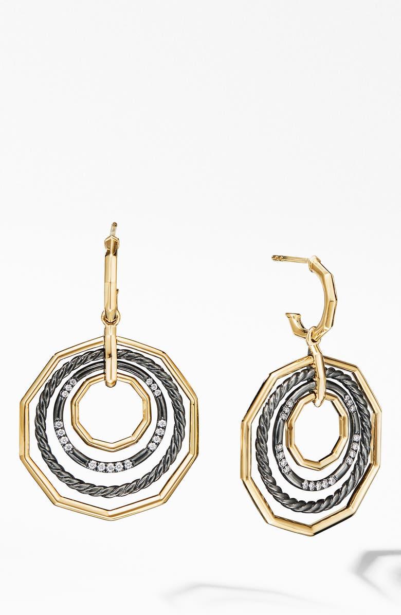 DAVID YURMAN Stax Large Drop Earrings in Blackened Silver with Diamonds, Main, color, BLACK RHODIUM/ GOLD/ DIAMOND