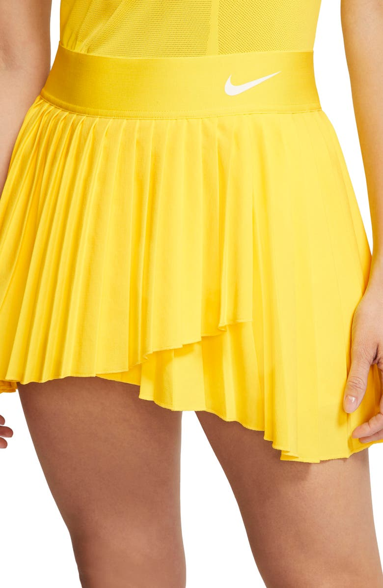 NIKE Court Dri-FIT Elevated Victory Tennis Skirt, Main, color, OPTI YELLOW/ WHITE