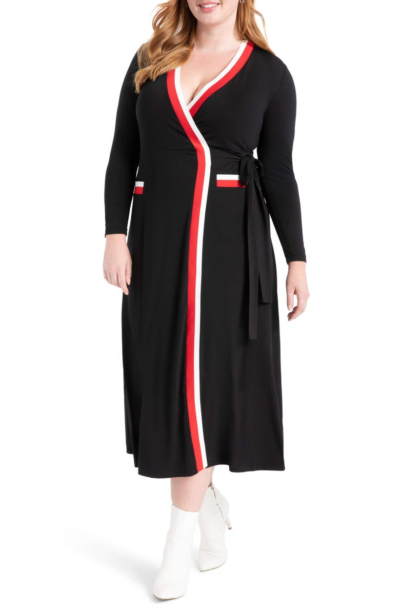 ELOQUII Stripe Tipped Long Sleeve Wrap Dress (Plus Size ...