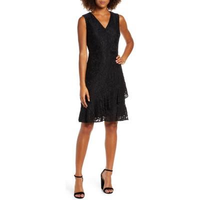 Sam Edelman Ruffle Tiered Lace Dress, Black