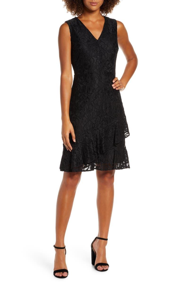 SAM EDELMAN Ruffle Tiered Lace Dress, Main, color, BLACK
