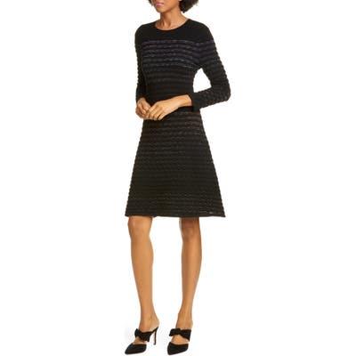 Kate Spade New York Scallop Stripe Shine Wool Blend Sweater Dress, Black