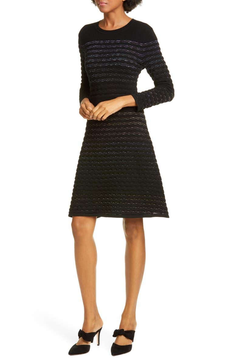 KATE SPADE NEW YORK scallop stripe shine wool blend sweater dress, Main, color, 001