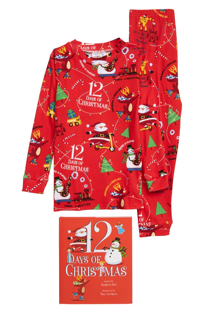 BOOKS TO BED 12 Days of Christmas Fitted Two-Piece Pajamas & Book Set, Main, color, RED