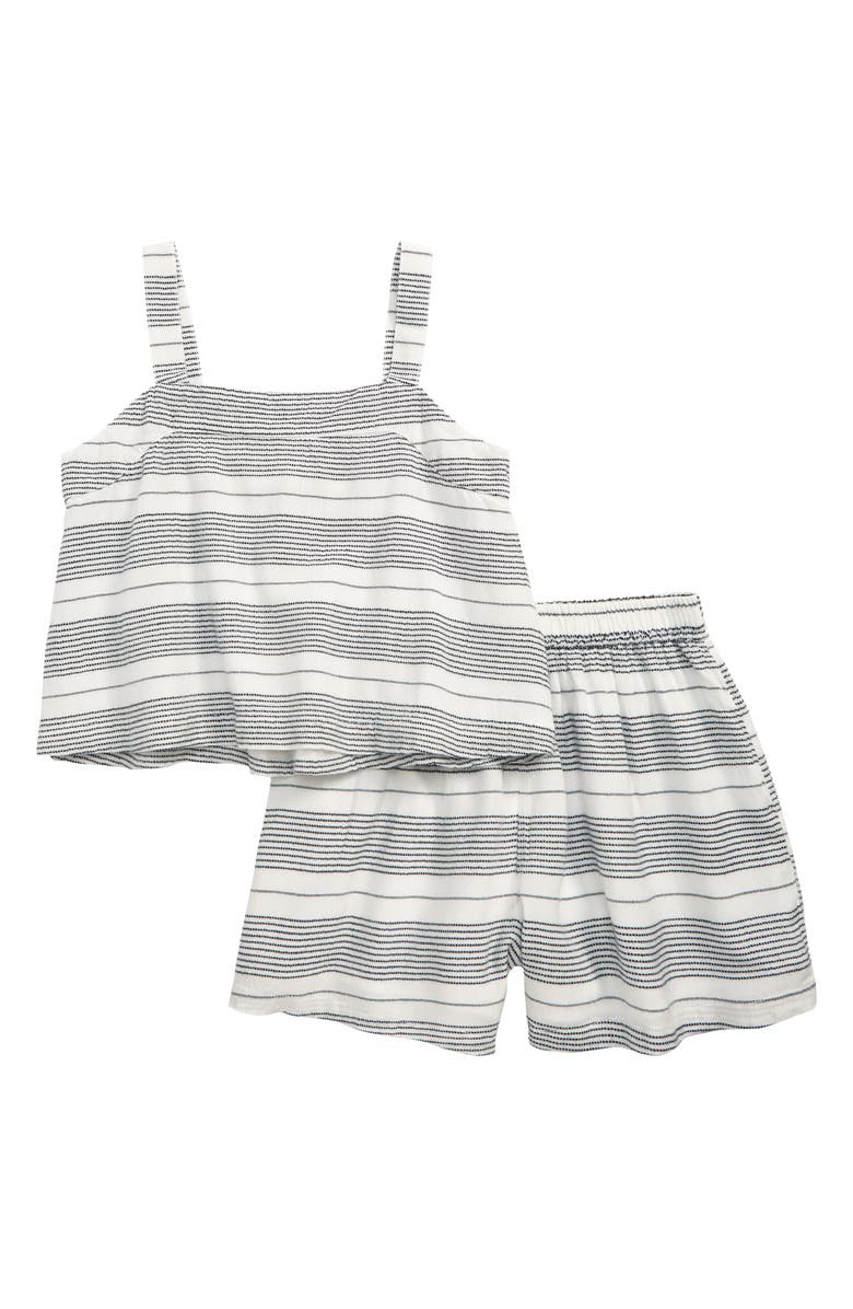 TUCKER + TATE Embroidered Stripe Tank & Shorts Set, Main, color, BLACK- WHITE STRIPE