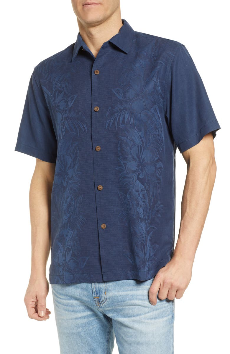 TOMMY BAHAMA Kamari Border Classic Fit Silk Camp Shirt, Main, color, NAVY