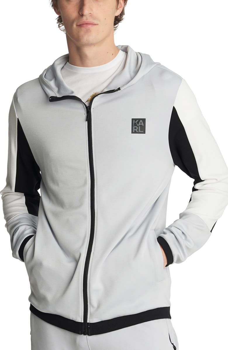 KARL LAGERFELD PARIS Colorblock Zip-Up Hooded Jacket, Main, color, LIGHT GREY