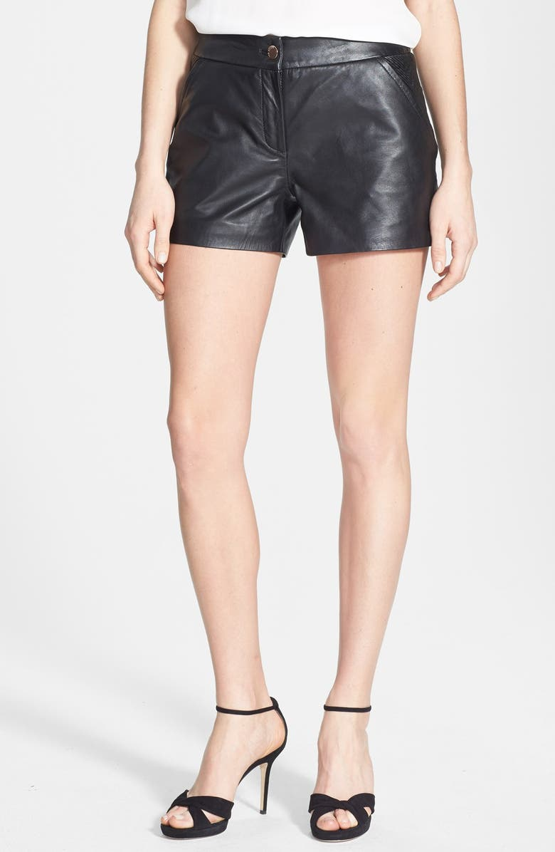 TED BAKER LONDON Topstitched Leather Shorts, Main, color, 001