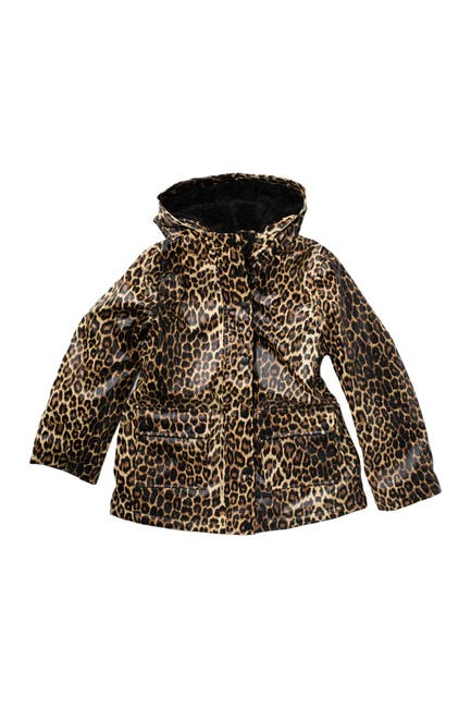 Image of Urban Republic Leopard Print Faux Shearling Lined Raincoat