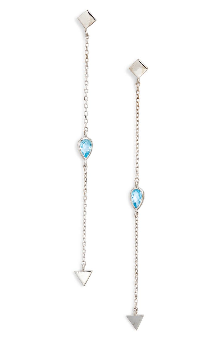 ANZIE Cleo Solid Station Blue Topaz Linear Earrings, Main, color, SILVER
