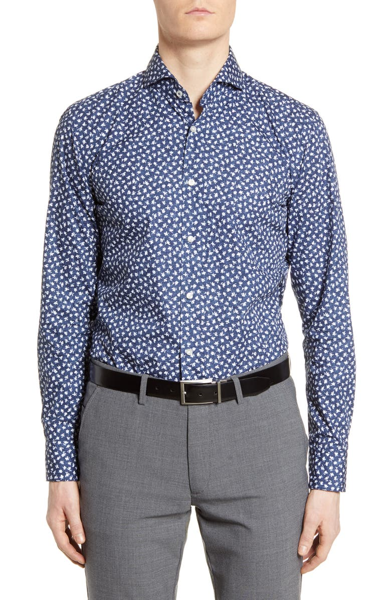 BOSS Slim Fit Floral Dress Shirt, Main, color, OPEN BLUE