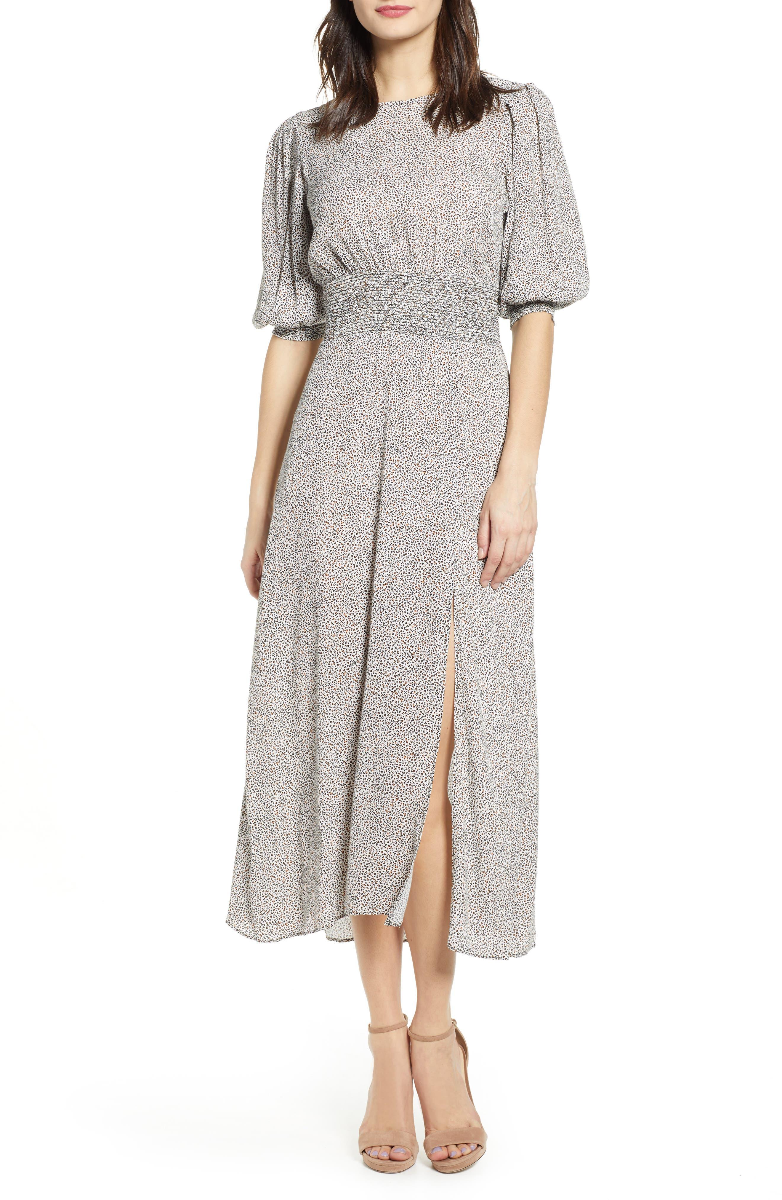 Afrm Print Smocked Waist Midi Dress, Black