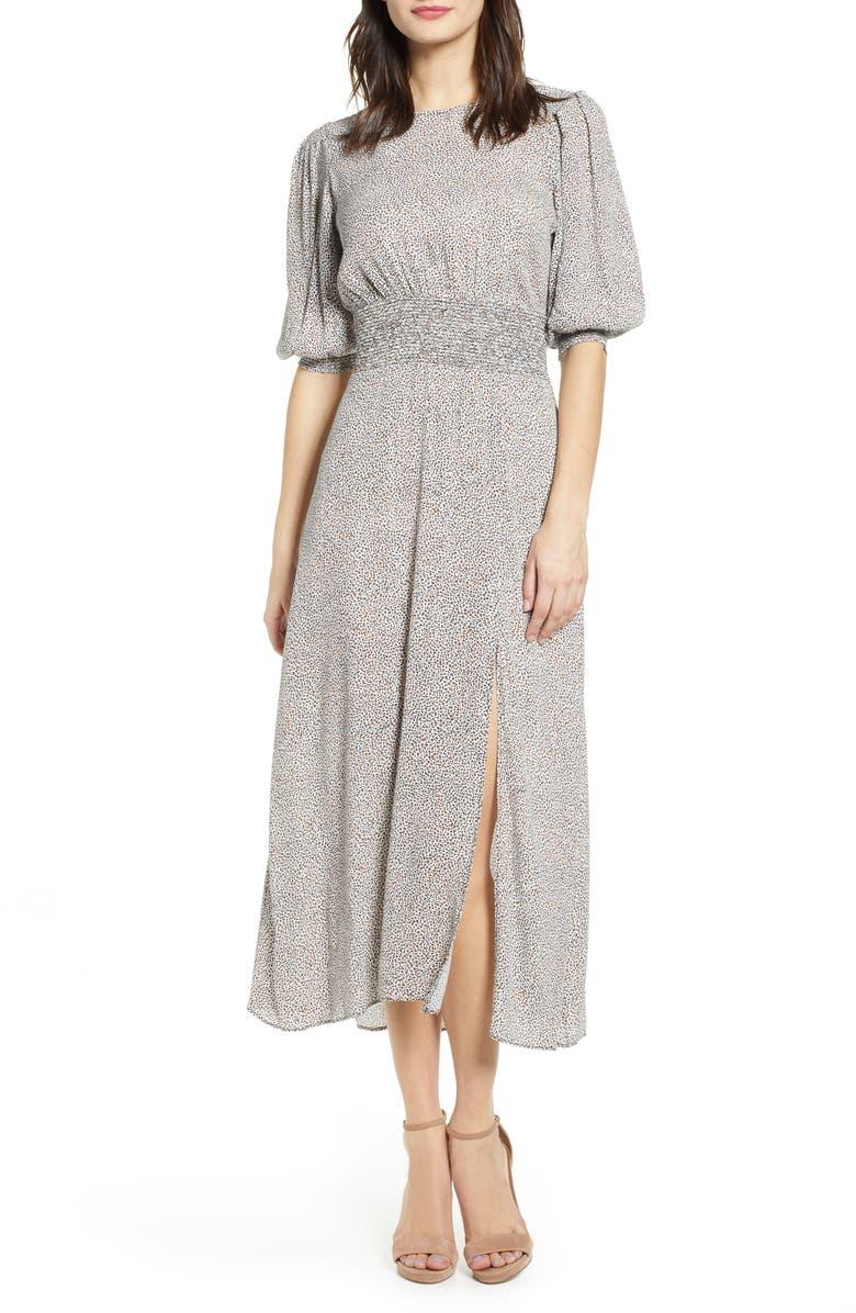 AFRM Print Smocked Waist Midi Dress, Main, color, 001