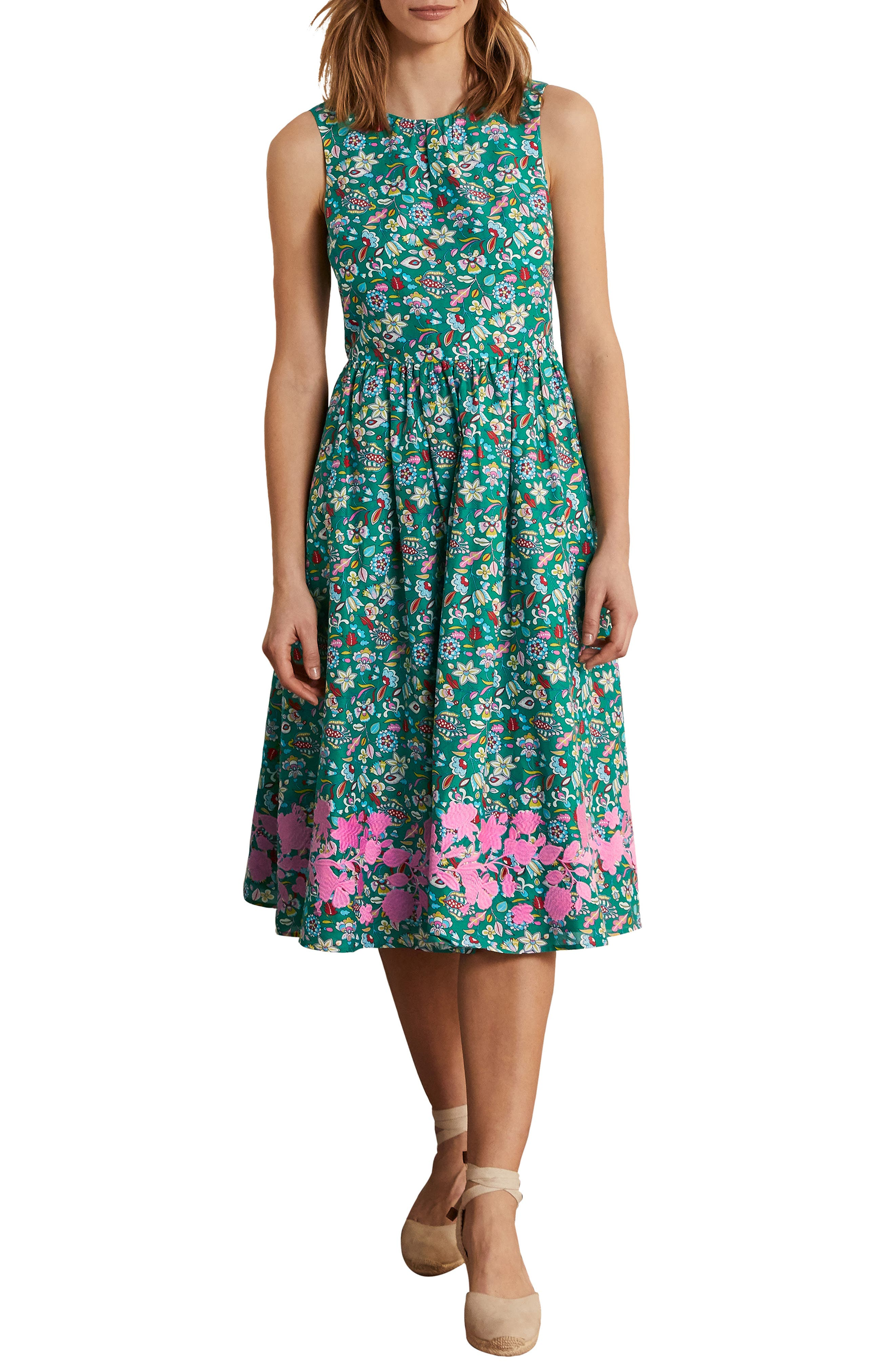 Women's Boden Embroidered Cotton Midi Dress