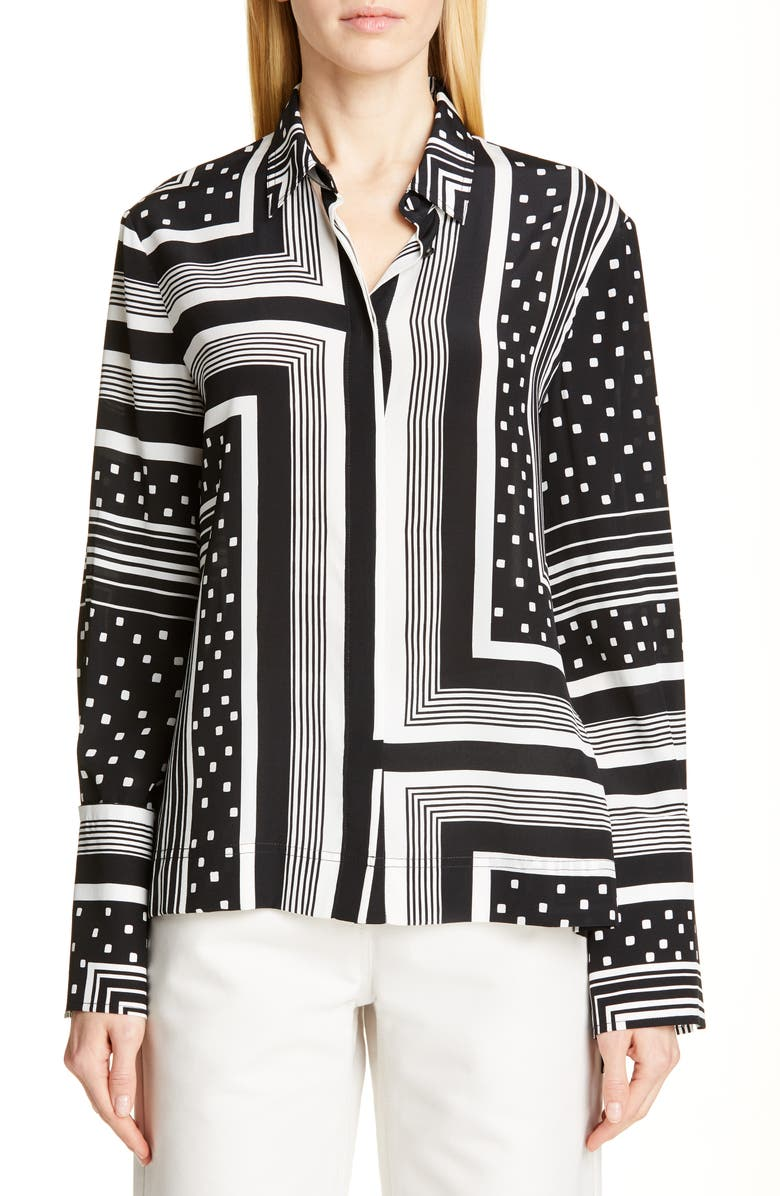 CO Print Wide Cuff Silk Shirt, Main, color, GEOMETRIC