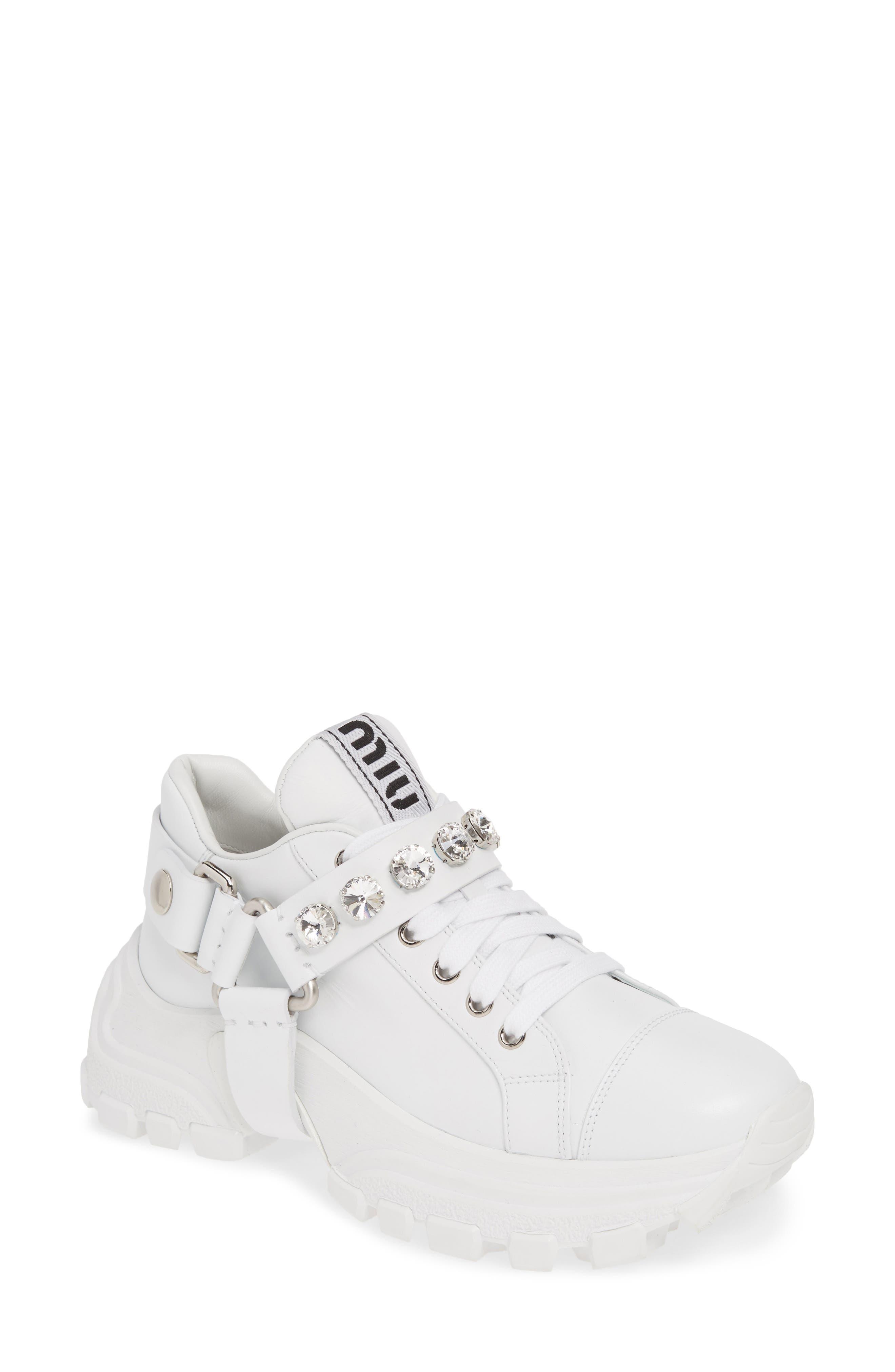 Miu Miu Crystal Harness Platform Sneaker - White