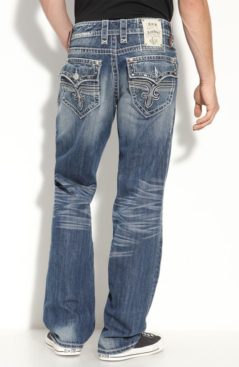 3e85f154 Rock Revival 'John' Studded Bootcut Jeans (Medium Blue Wash) | Nordstrom