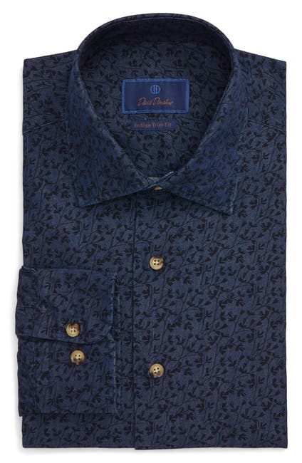 Image of David Donahue Floral Print Trim Fit Dress Shirt