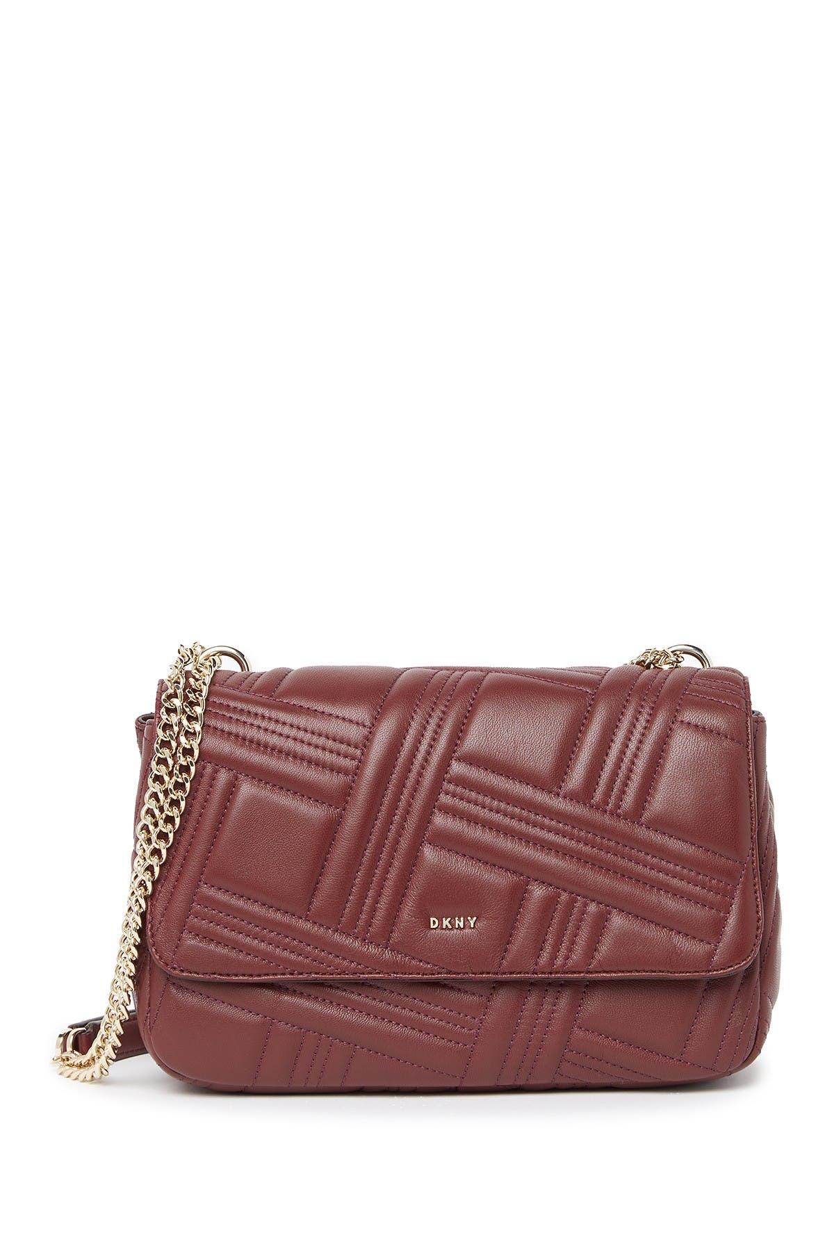 Image of DKNY Allen Large Flap Leather Shoulder Bag