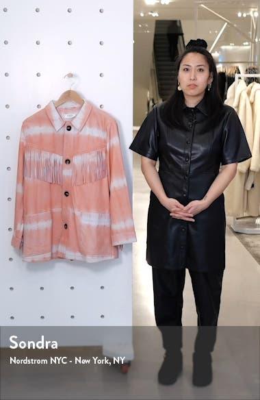 Zelda Tie Dye Fringe Trim Leather Jacket, sales video thumbnail