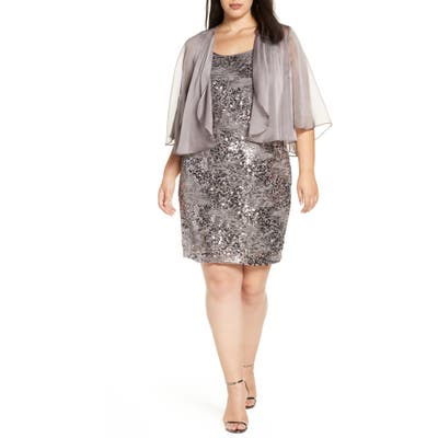 Plus Size Alex Evenings Sequin Dress With Sheer Jacket, Grey