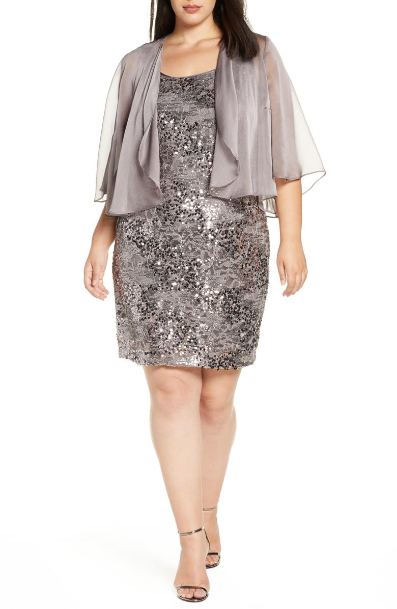 ALEX EVENINGS Sequin Dress with Sheer Jacket, Main, color, 020