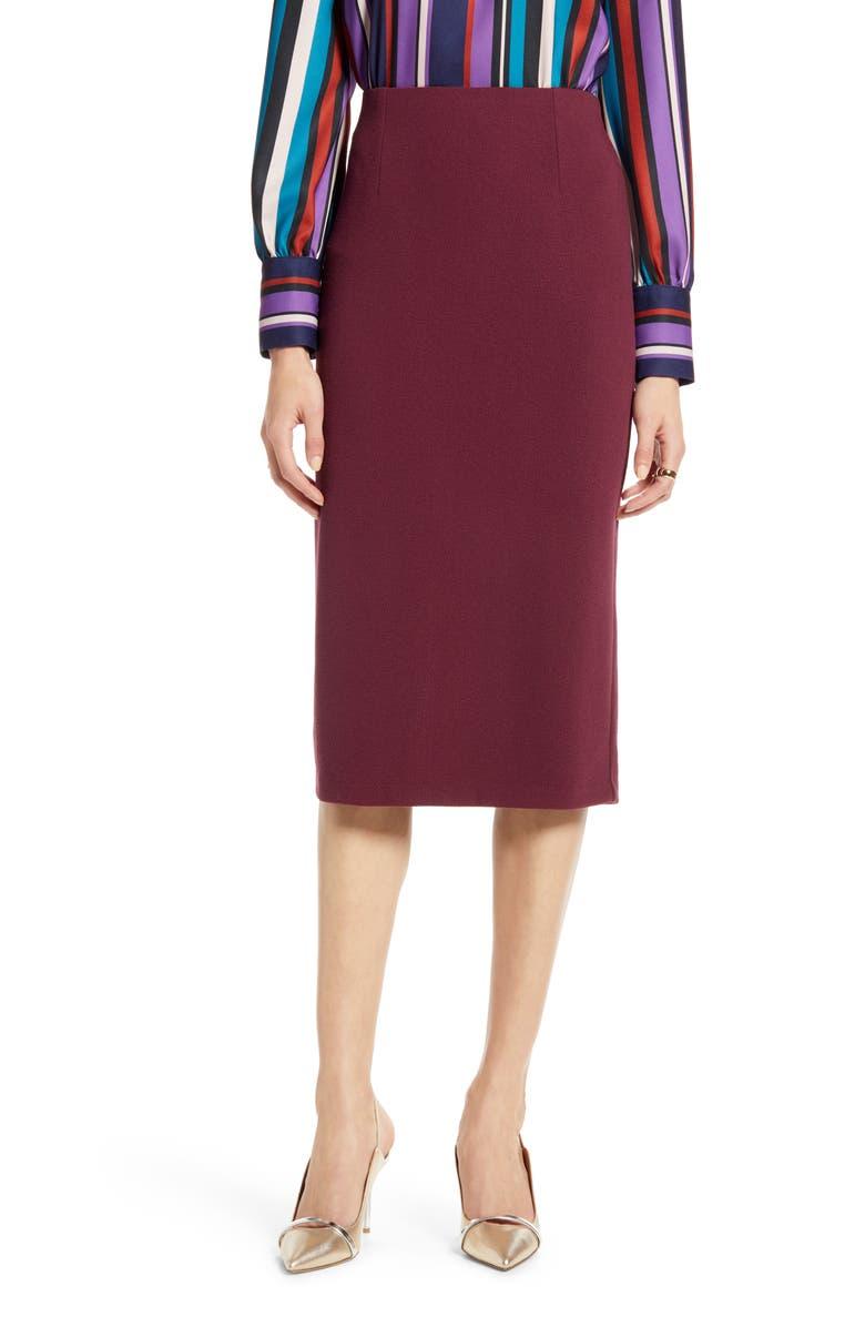 HALOGEN<SUP>®</SUP> Knit Pencil Skirt, Main, color, BURGUNDY FIG