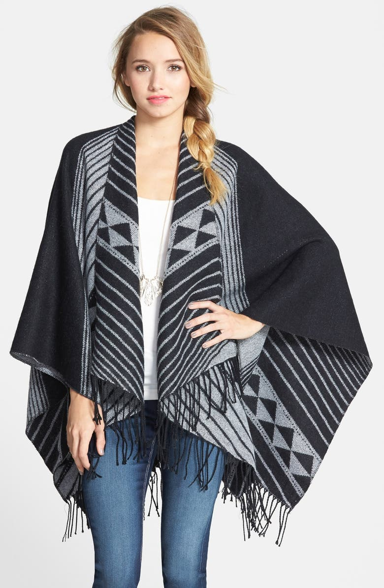 BP. Print Tassel Trim Poncho, Main, color, 001