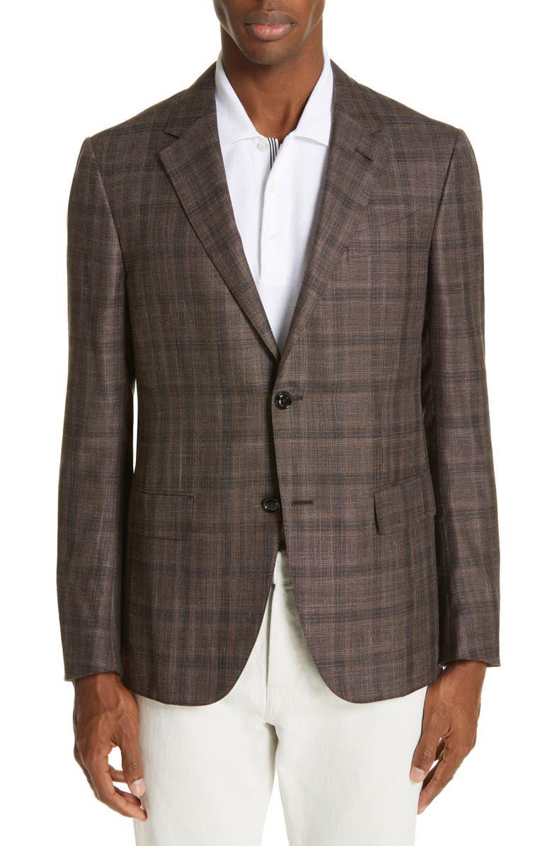 ERMENEGILDO ZEGNA Milano Classic Fit Plaid Silk Blend Sport Coat, Main, color, BROWN