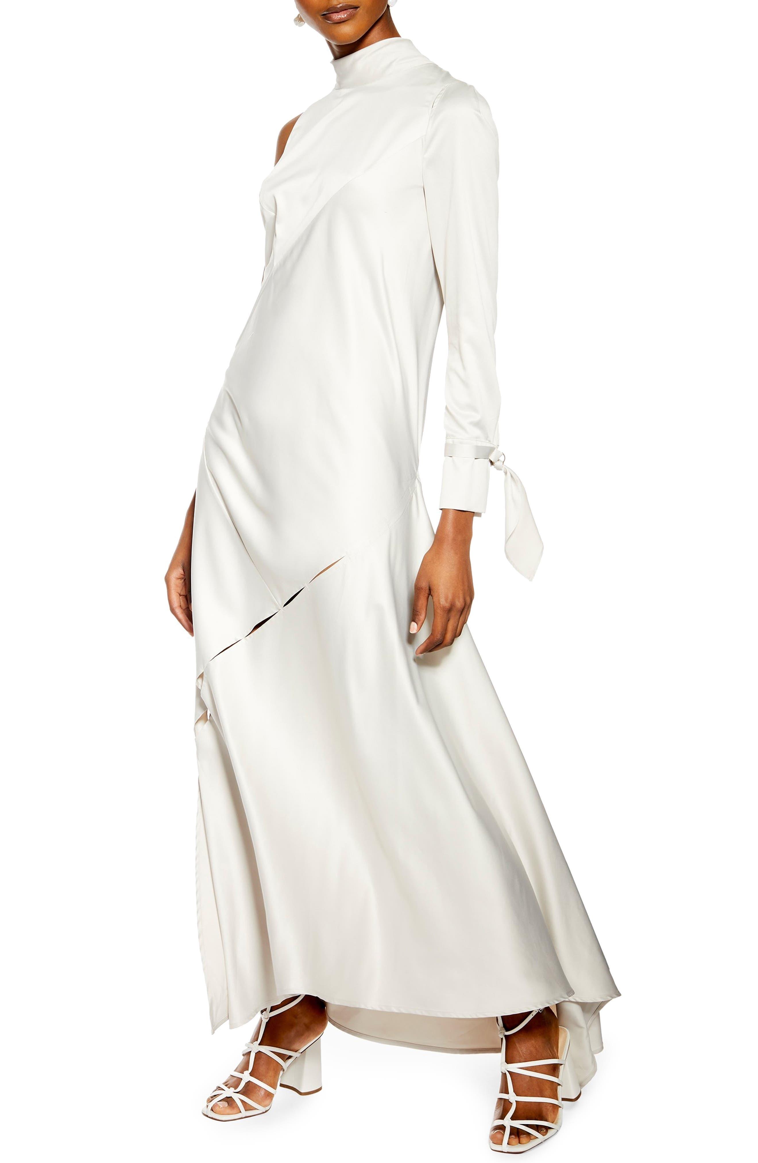 Topshop One-Sleeve Maxi Dress, US (fits like 6-8) - Grey