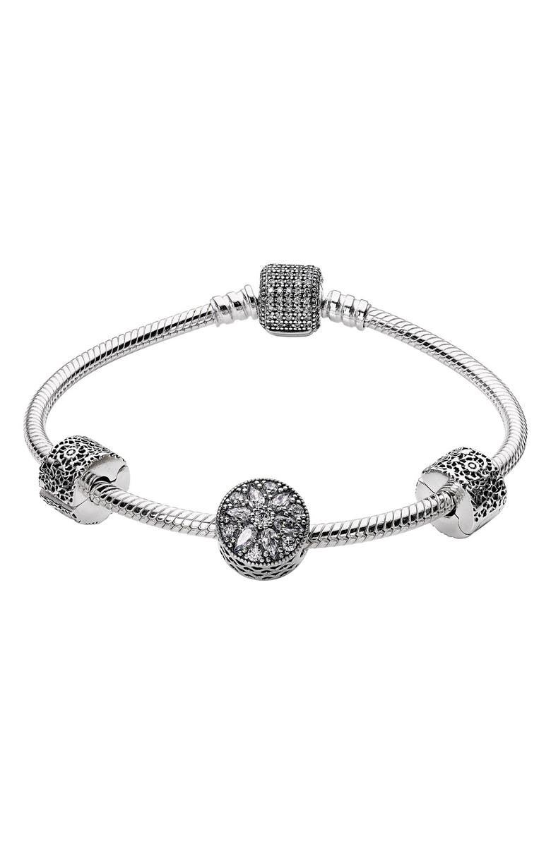 PANDORA 'Glistening Wonder' Bracelet Gift Set, Main, color, 040