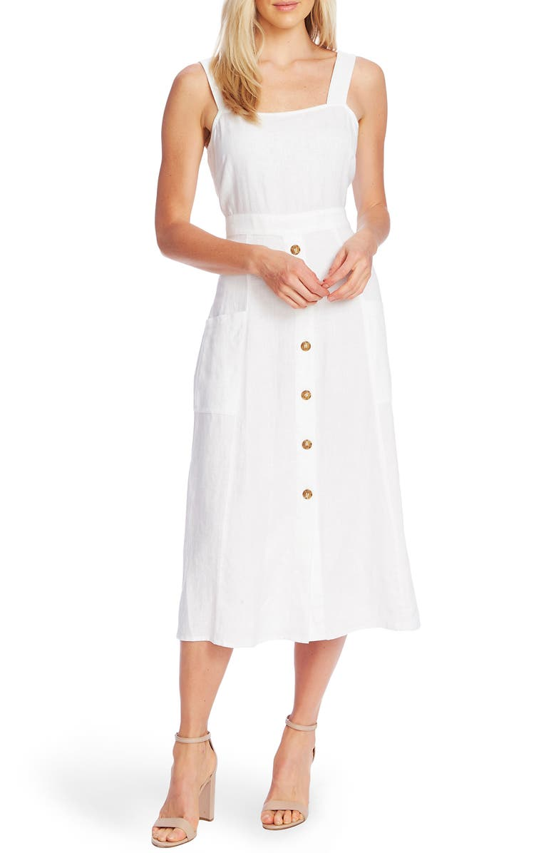 VINCE CAMUTO A-Line Sleeveless Linen Dress, Main, color, ULTRA WHITE