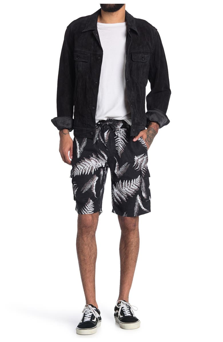 ONIA Tom Palm Print Linen Cargo Shorts, Main, color, BLACK