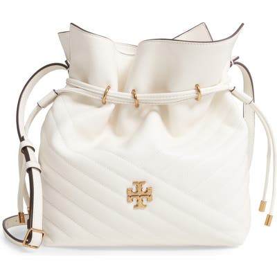 Tory Burch Kira Chevron Quilted Leather Bucket Bag - Ivory