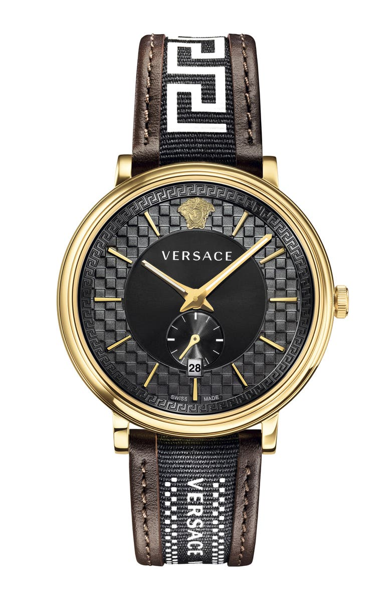 VERSACE V Circle Greca Leather Strap Watch, 42mm, Main, color, BROWN/ BLACK/ GOLD