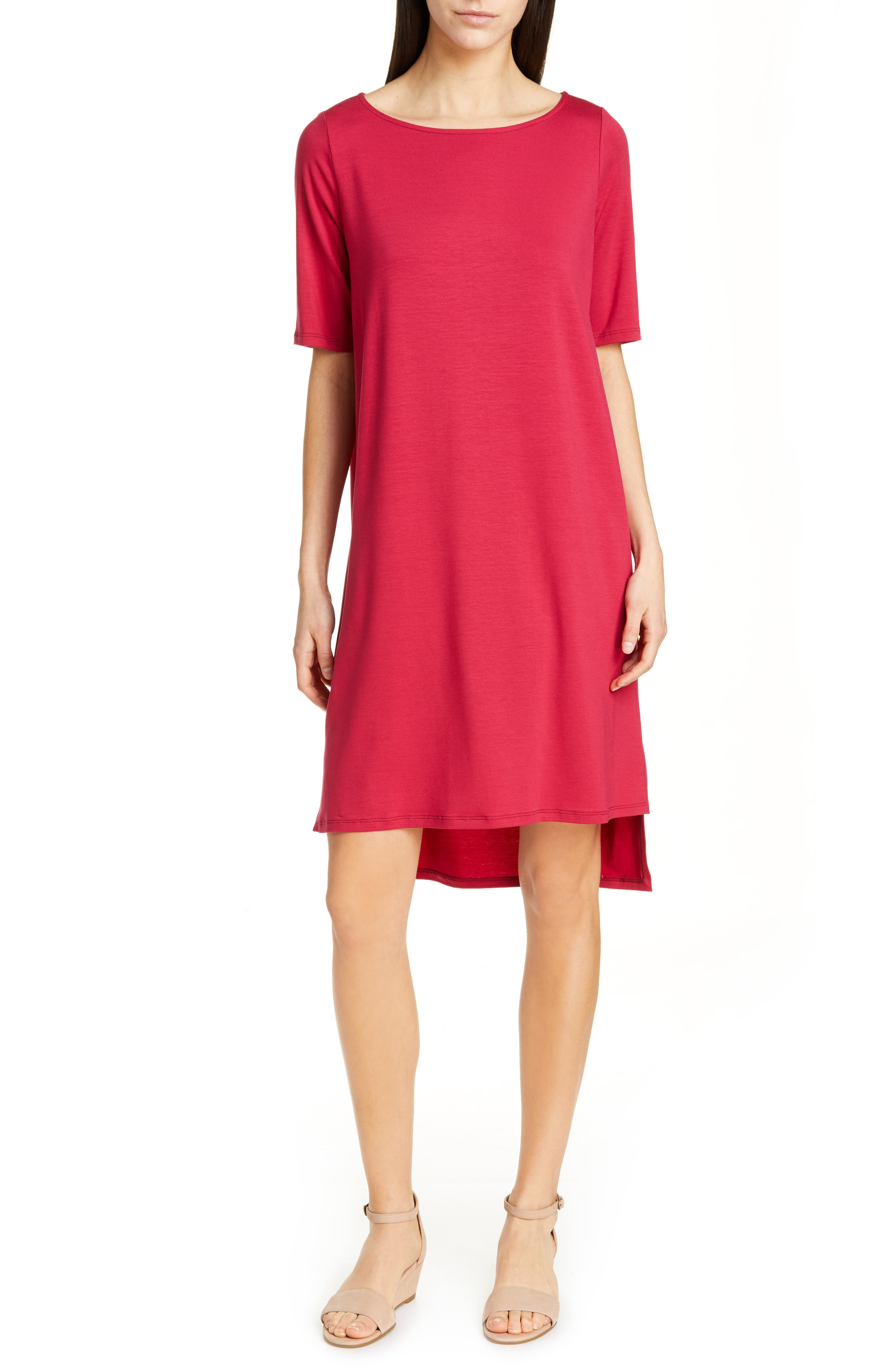 women's eileen fisher high/low shift dress, size xx-small - pink