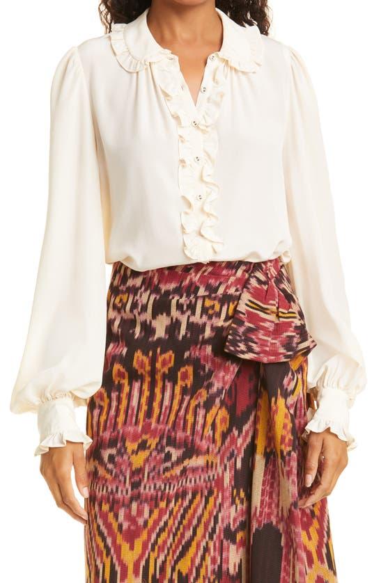 Ulla Johnson Philipa Ruffle Silk Blouse In Blanc