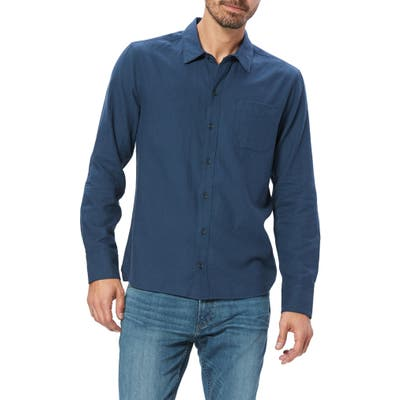 Paige Cooper Solid Button-Up Flannel Shirt, Blue