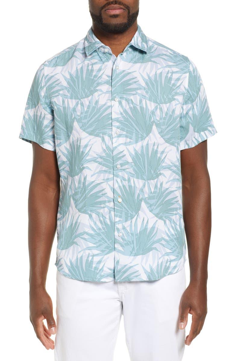 BOSS Rash Regular Fit Linen Blend Shirt, Main, color, WHITE