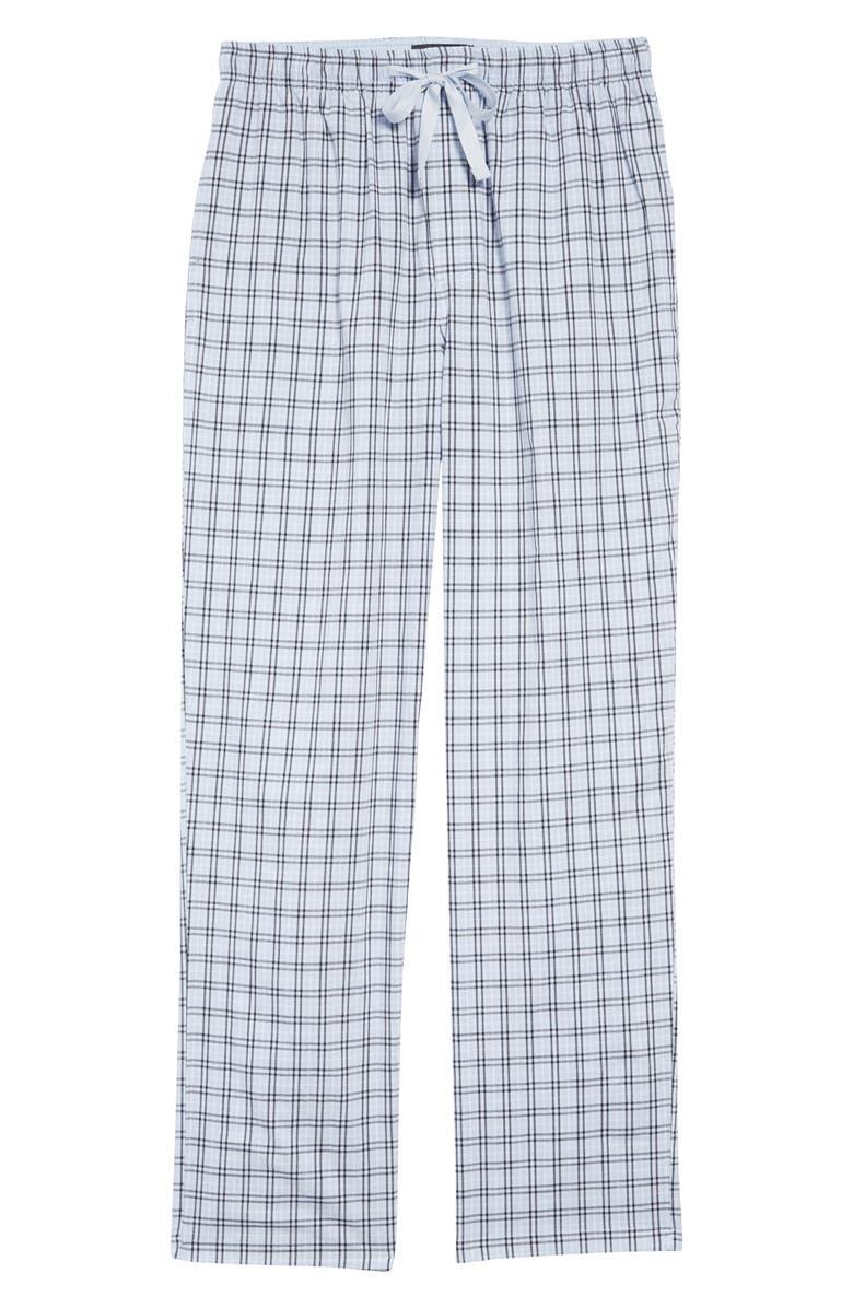 NORDSTROM MEN'S SHOP Poplin Pajama Pants, Main, color, BLUE FEATHER DOUGLAS PLAID