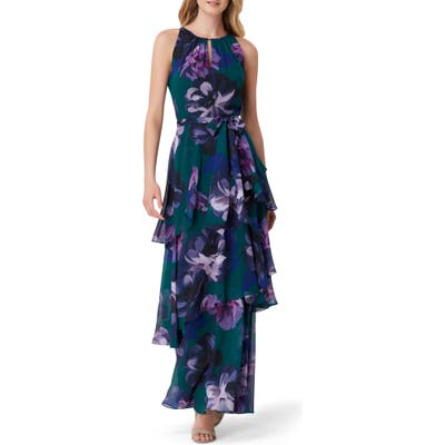 Tahari Tiered Floral Maxi Dress, Green